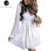 Lily Rosie Girl Sexy Deep V Neck Women White Mesh Dresses 2017 Autumn Long Sleeve Mini