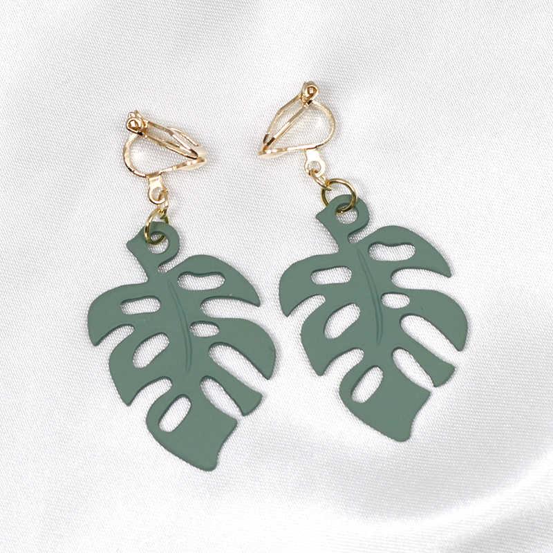 ファッション葉のクリップなしピアス耳クリップ緑の葉イヤリングなしピアス女性イヤリングジュエリー CE055