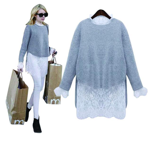 Estilo europeu 2016 primavera outono moda de nova mulheres sólidos dress blusas e vestidos vestido branco lace dress two-piece cl145