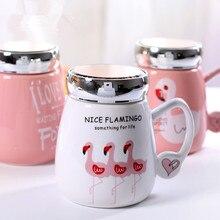 Nette Karikatur Flamingos Kaffeetassen mit Deckel Frühstück Milch Tasse Büro Tasse Kristall Glas deckel 400 ml Drink Keramik Tee tassen