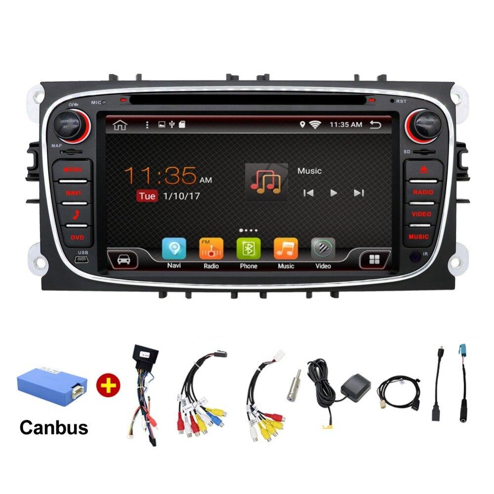 2 din autoradio gps Android 7.1 voiture DVD pour Ford Focus 2 Mondeo c-max S max Galaxy avec Wifi 3G BT Audio radio stéréo unité de tête