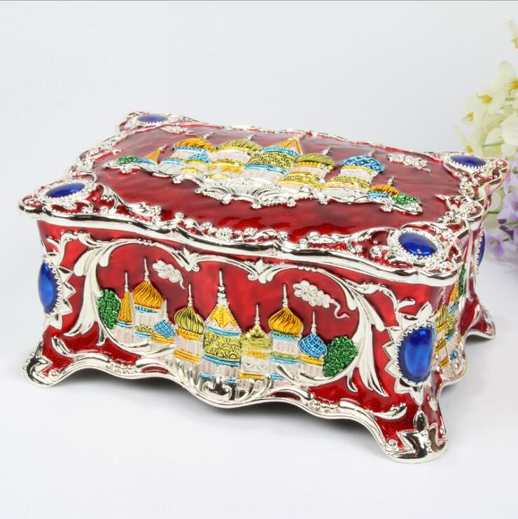 Vintage Russian Castle Jewellery Box wedding Necklace Pendant Rings Gifts Storage Case Desktop storage box Home
