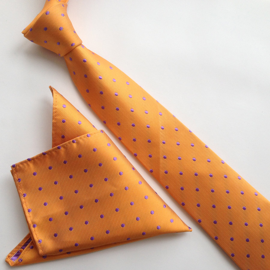 Дизайнерский набор галстуков 8 см Галстук Оранжевый в фиолетовый горошек Gravata с тканым карманом ручной работы квадратный
