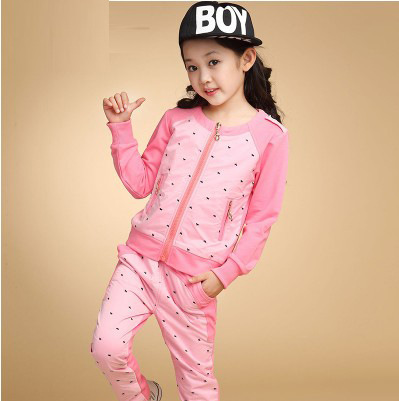 New Children Clothing Leisure Suit Grils AutumnTwo-piece Uniform Children A Small Black Dog Suit Children's Clothes 4-14Y 2017 new pattern small children s garment baby twinset summer motion leisure time digital vest shorts basketball suit