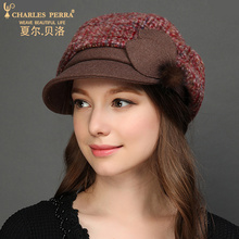 Charles Perra Brand Women Hats NEW 2017 Autumn Winter Thicken Fashion Hat Elegant Lady Beret Wool Cap Windproof Ear Protect 4218 winter hat 2016 new lady korean hat fashion cashmere knitted hat thicken double button other ear cap hats for women patchwork