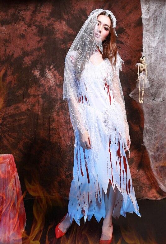 Kobiety Straszne Halloween Kostiumy Bloody Zombie Panna