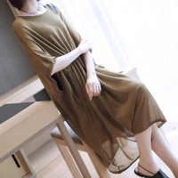Летний больших размеров вязаное платье 2019 корейская версия нового для женщин длинное темперамент сплошной цвет свободная блузка