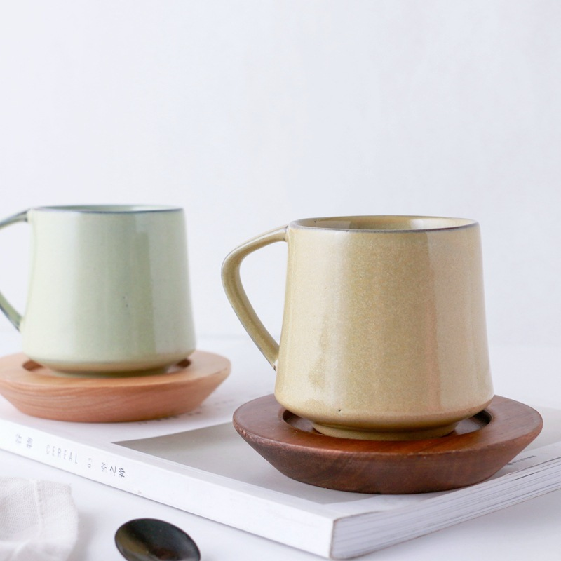 European Style 5 Colors Retro Kiln Glazed Coffee Mug Creative Couple Milk Cup Flower Cup in Mugs from Home Garden