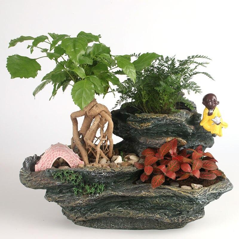 Pot de fleurs charnu couleur de la main résine vert plante en pot table décor à la maison ornements Artcrifts Figurines décoration