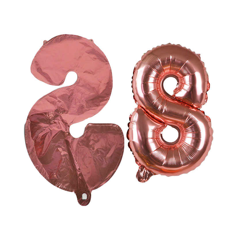 16inch Foil Number Balloon Rose Gold Helium Ballons Wedding Decoration Happy Birthday Balloons Baby Shower Event