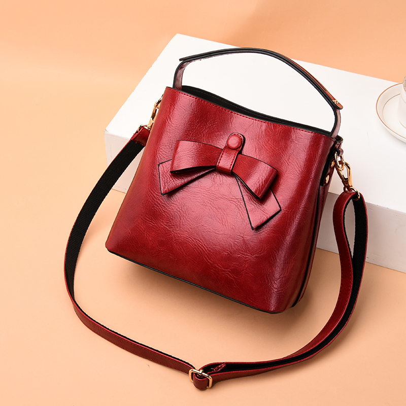 Bow Bags For Women Solid Bucket Handbag Women Tote Lady Hand Bags Designer Female Leather Handbags