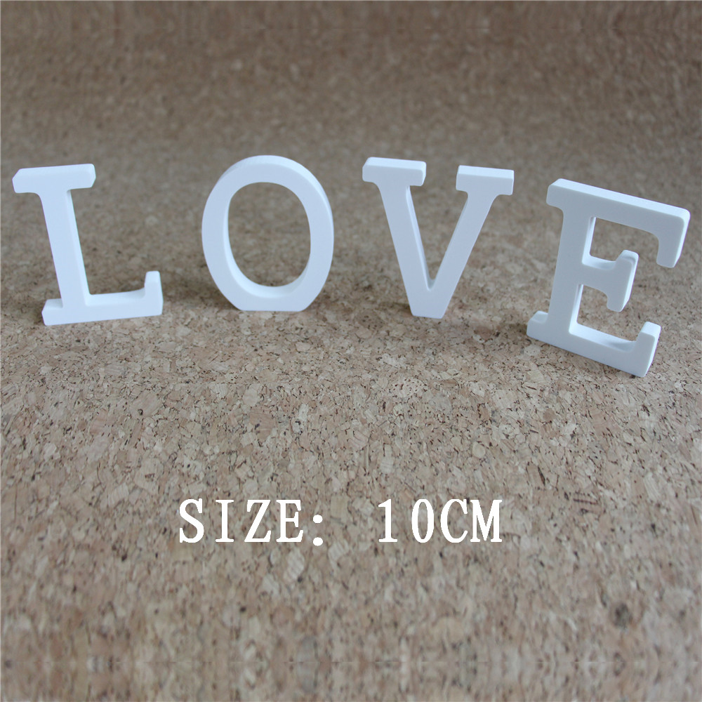 Artificial wood letters 10cm Artificial wooden white letters ZAKKA used for Home decoration Birthday wedding decoration Gift