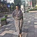 Толстая Лисий Мех Пальто 2017 женщин Из Искусственного Меха Зимняя Куртка верхняя одежда Пальто Плюс Размер Длинные Свободные Роскошные Шубы Зимой WR658