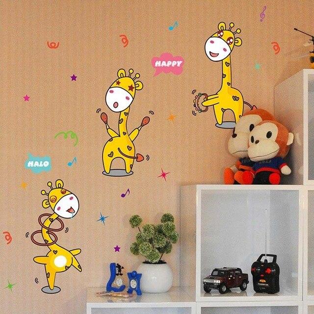 Wandaufkleber Tier Aufkleber Kinder Cartoon Dekorative Aufkleber Freche  Baby Giraffen Wandaufkleber Steuern Dekor Wohnzimmer 3d