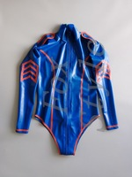 rubber latex police uniform teddies bodysuits (including stocking) in dark blue and red