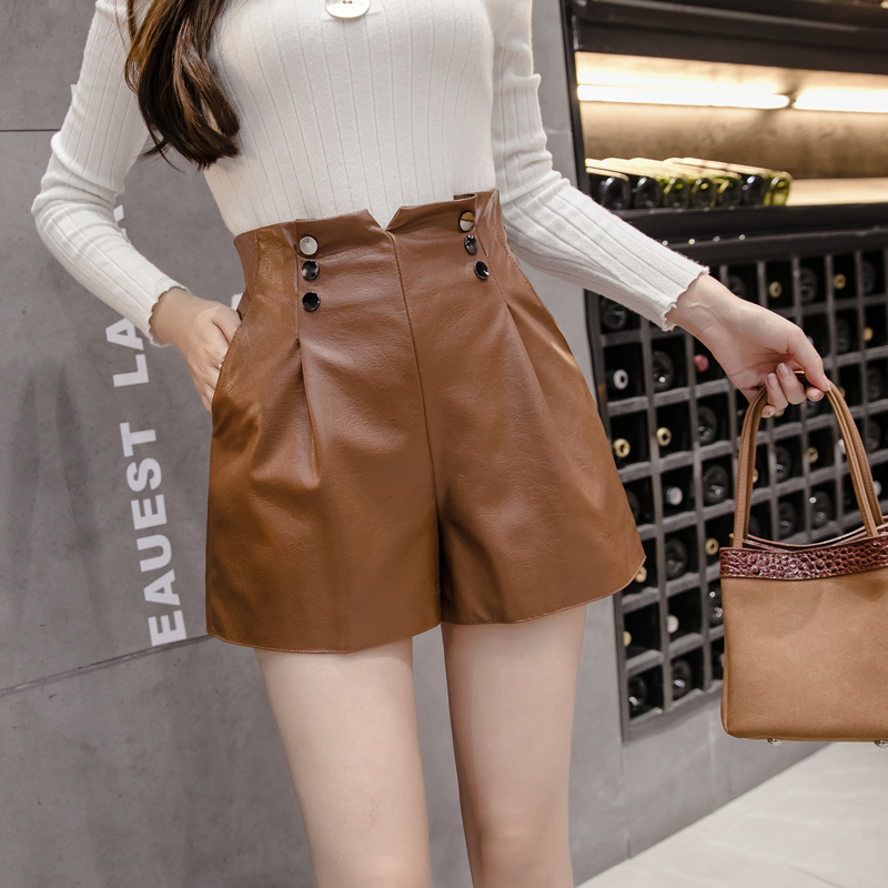 PU Leather Wide-legged Shorts Autumn Winter Women Fashion Back Zipper PU Buttons Shorts Girls A-line Faux Leather Shorts Bottoms