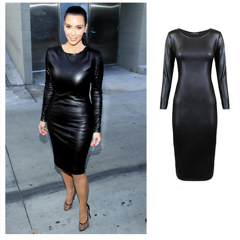 Popular Long Sleeve Faux Leather Dress-Buy Cheap Long Sleeve Faux ...