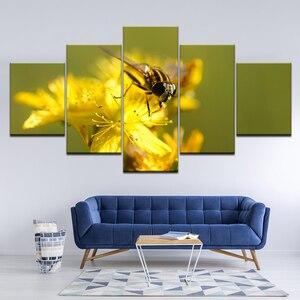 Картина на холсте пчела сбор Мед 5 шт. настенная живопись модульные обои постер печать для гостиной домашний декор