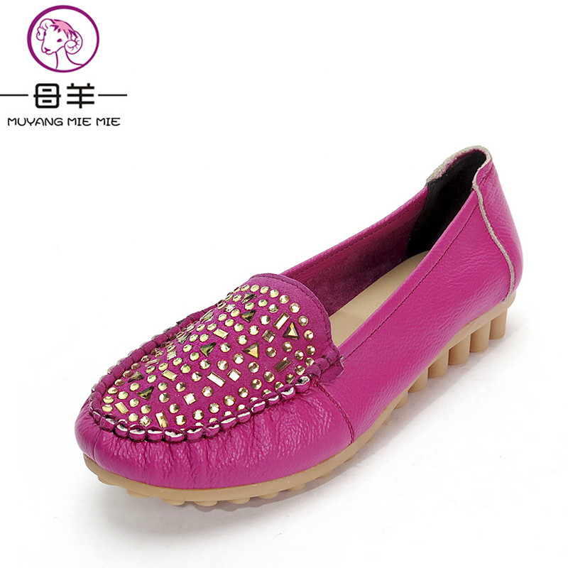 MUYANG MIE MIE Plus Size(35-42) Women Rhinestone Soft Shoes Woman Genuine Leather Single Flat Shoes Casual Loafers Women Flats