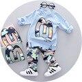 Roupa dos miúdos Definir Camuflagem de Manga Comprida T-shirt + Calças Do Bebê Roupas Meninos Meninas Terno de algodão Casuais Meninos Da Criança roupas