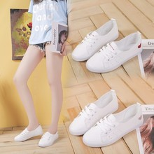 цена на Women White Sneakers Heart Trainers PU Leather Shoes Women Casual Flats Lace-up Fashion Female Summer Canvas Vulcanize Shoes
