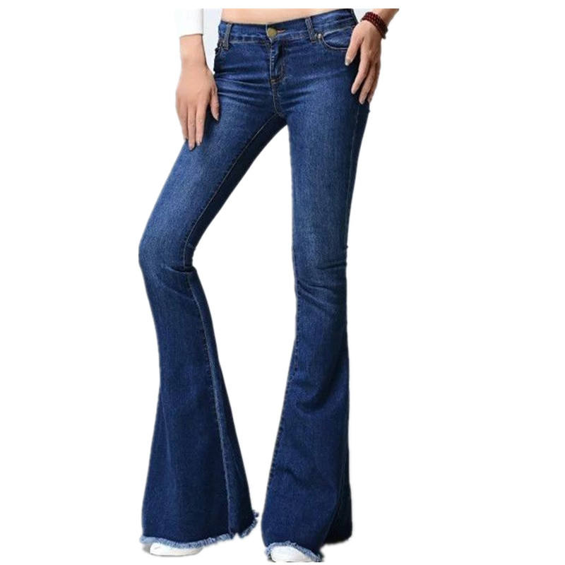 Free shipping Fashion Female Mid Waist Bell Bottom Jeans Womens Boot Cut denim pants vintage wide leg flare jeans 061801 velvet boot cut bell bottom pants