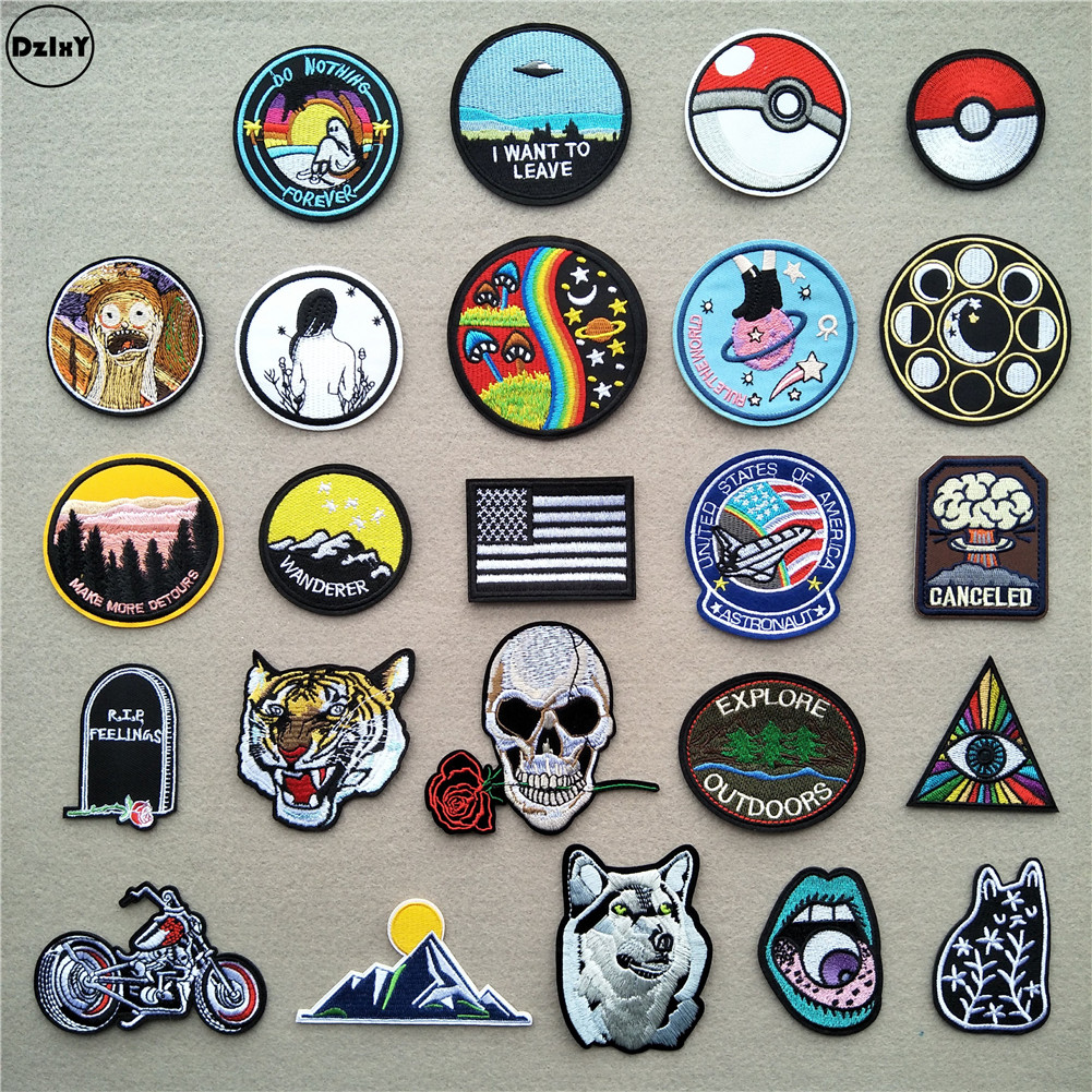 (46 Differents Styles) 1 PCS Round Patches For Clothes Iron On UFO Appliques DIY Skull Stripes Embroidery Stickers Animals Badge