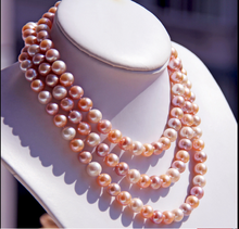 Wedding women Jewelry 160cm 63inch 8-9mm Top AAA Natural Freshwater pearl Colorful Pearl Necklace highlight Handmade
