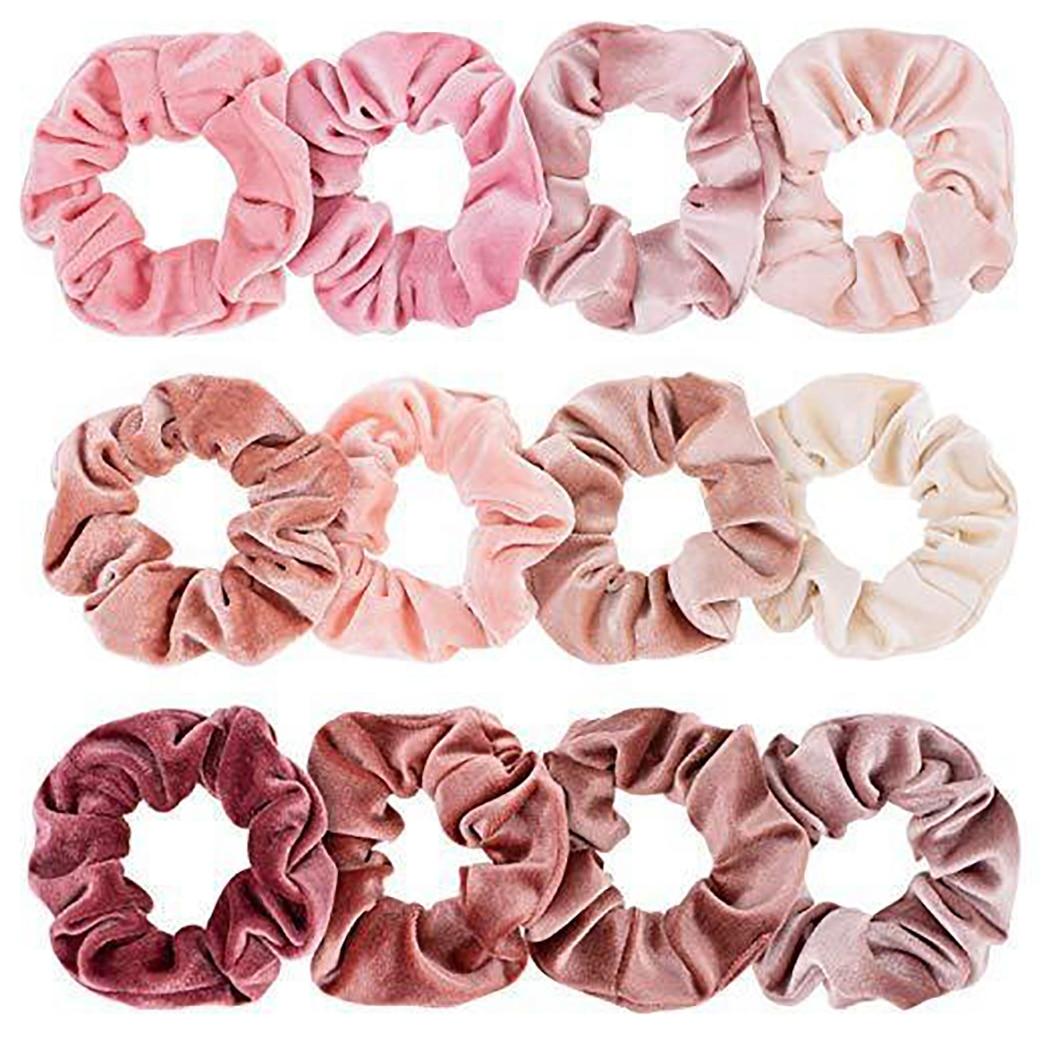12PCS Rubber Band Velvet Hair Rope Hair Scrunchy Pink Elastic Ponytail Holder Hair Band   Headwear   Accessories For Girl Women