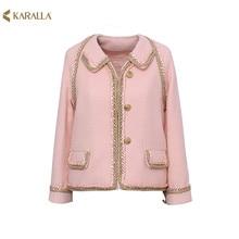 high quality New 2016 women's autumn spring jacket handmade beading tasse tweed jacket brief designer outwear D7211