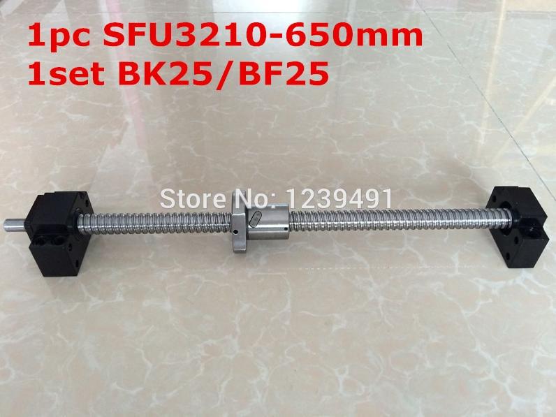 SFU3210 - 650mm ballscrew with end machined + BK25/BF25 Support CNC parts ballscrew 3205 l700mm with sfu3205 ballnut with end machining and bk25 bf25 support