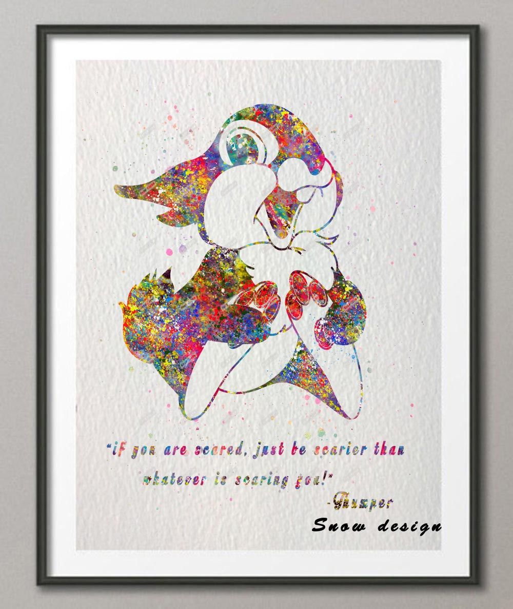 US $7 79 40% OFF Original watercolor Thumper Bunny Bambi Quote canvas  painting wall art poster print pictures Home Decoration wall hanging  gifts-in