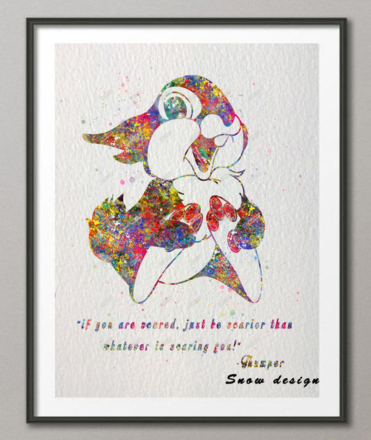 Original watercolor Thumper Bunny Bambi Quote canvas ...