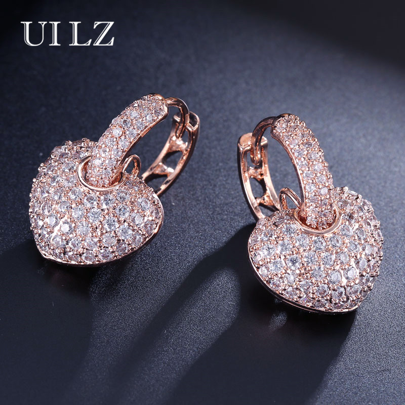 43e601150e4d1b UILZ Fashion Rose Gold Color Zirconia Micro Paved Heart Hoop Earrings Set  Clear Crystal Lover Jewelry For Women Party JMEP546