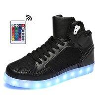 Remote Control High Top LED Shoes Men Tenis Led Men Shoes 11 colors male flat neon basket Glowing casual Flash Light Up Unisex