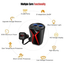 Fast Wireless Charger with Dual Cigarette Lighter Sockets Car Cup Holder Triple USB Ports for Smart Device Red Digital Display