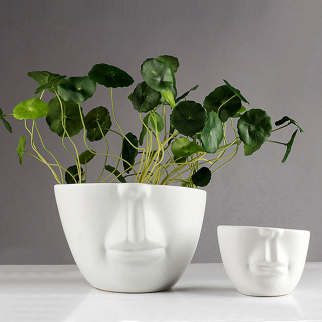 Modern Ceramic Figure Head Shape Flower Pots Planters Porcelain Human Face Image Pot Desktop Wedding