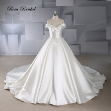 Rosabridal A line Wedding Dress 2019 simple cutting Ivory Satin Off Shoulder sweetheart Lace Up  Bridal Gown With court train