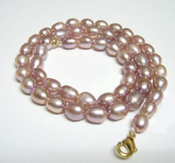 Free Shipping 10pcs/lot Purple Rice Freshwater Pearl Fashion Necklace Lobster Clasp 7-8mm 16inch P3*