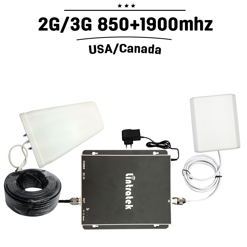 2G 3G GSM 850mhz PCS 1900mhz Dual Band Mobile Signal Booster 70dB Gain CDMA UMTS 1900 Cell Phone Amplifier Repeater+Antenna 35