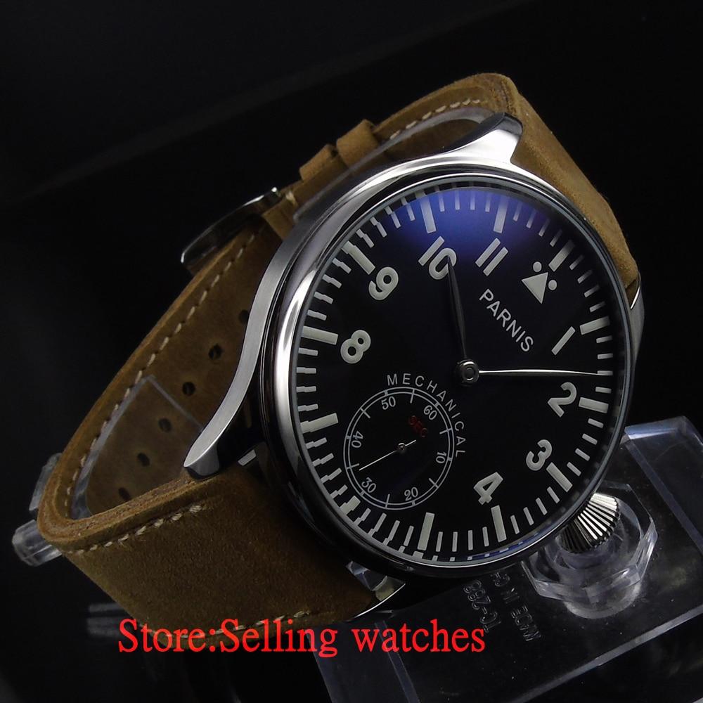Parnis 44mm Black dial Mechanical hand winding 6498 Men's Watch 44mm black sterile dial green marks relojes 6497 mens mechanical hand winding watch luminous armbanduhr cm164bk