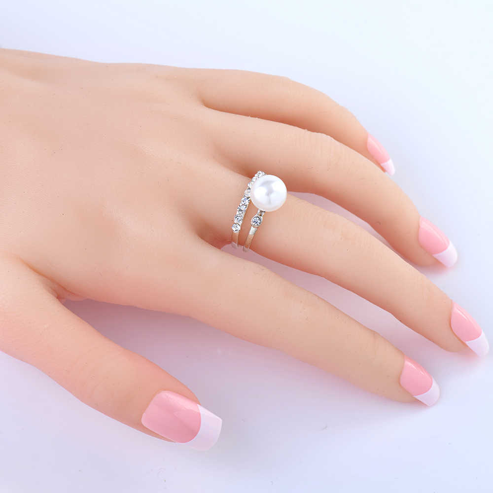 2019 New Fashion Jewelry 2pcs set Wedding Ring Silver Jewelry Pearl Jewelry For Women Vintage Punk Ring Size 7-9 High quality