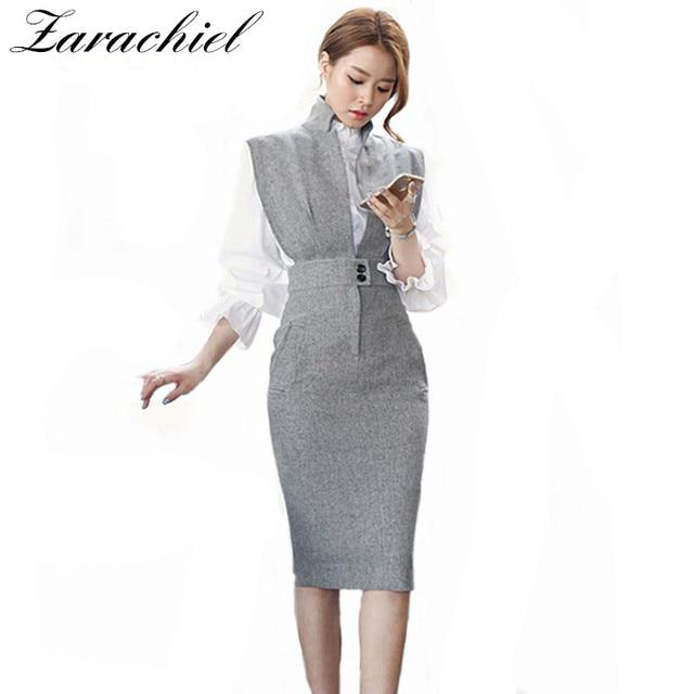 2b192a899ca4b US $13.59 20% OFF|Zarachiel Office Lady 2 Piece Set Dress 2019 Summer Women  Sexy V Neck Sleeveless Bodycon Dress+White Ruffles Blouse Shirt Dress-in ...