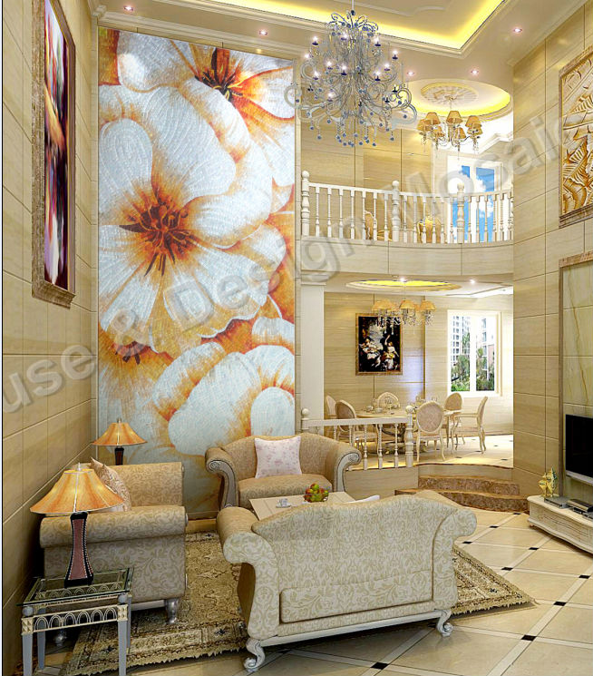 gold sun mosaic Bisazza mosaic round mosaic for bathroom entranceway background wall galss decoration mosaic 自宅 ワイン セラー