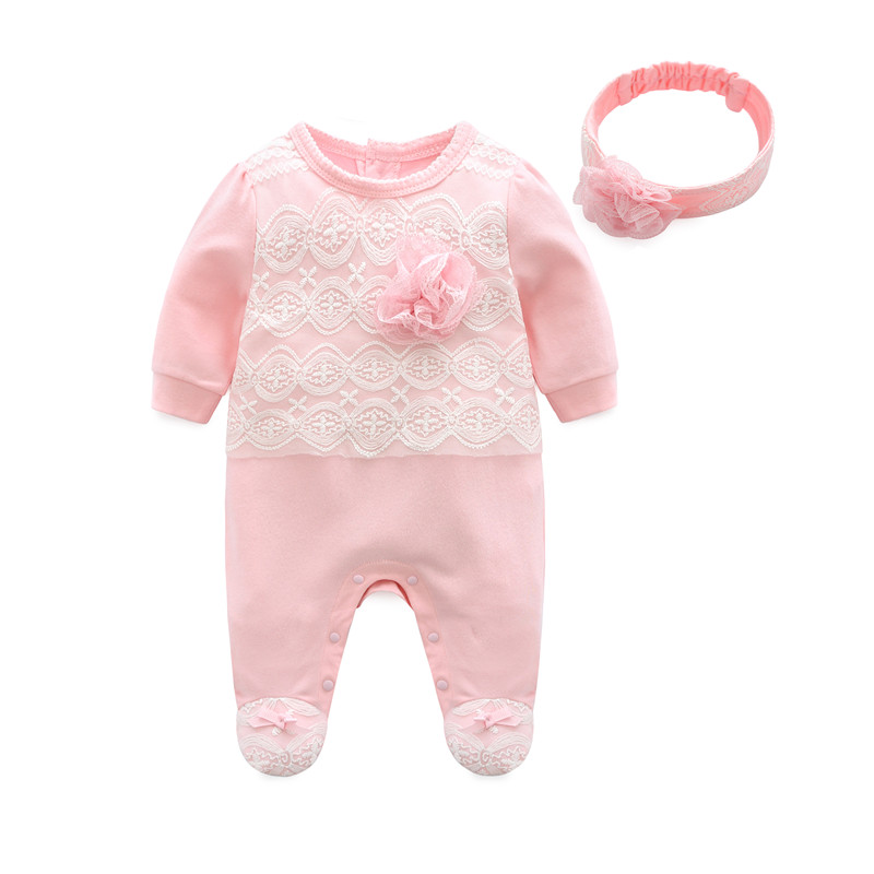 2019 Princess Newborn Baby Girl Clothes Lace Flowers Footies Jumpsuit with Headband 2 Piece Girls Clothing Set  0 3 6 9 monthsRompers   -