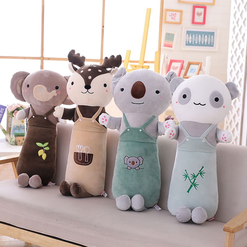 Soft Animal Cartoon Long Pillow Cushion Cute Rabbit Deer Panda Koala Alpaca Elephant Plush Stuffed Toys Kids Birthyday Gift