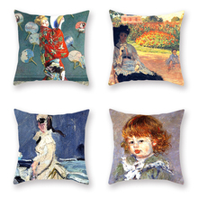 French Art Oil Painting Pillowcase Monets Camille Pillow Accessories Decorative Throw Covers Japanese Costume Umbrella