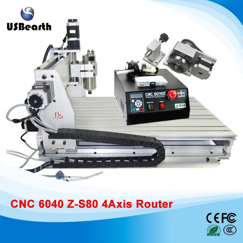 CNC 6040Z-S80 4 axis engraving machine with 1.5KW spindle for engraving metal,woods, 6040 CNC router eur free tax cnc 6040z frame of engraving and milling machine for diy cnc router