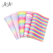 JOJO BOWS 22*30cm Sparkly Chunky Glitter Fabric Rainbow Sheet For Clothing DIY Bag Hair Bows Material Holiday Party Decoration