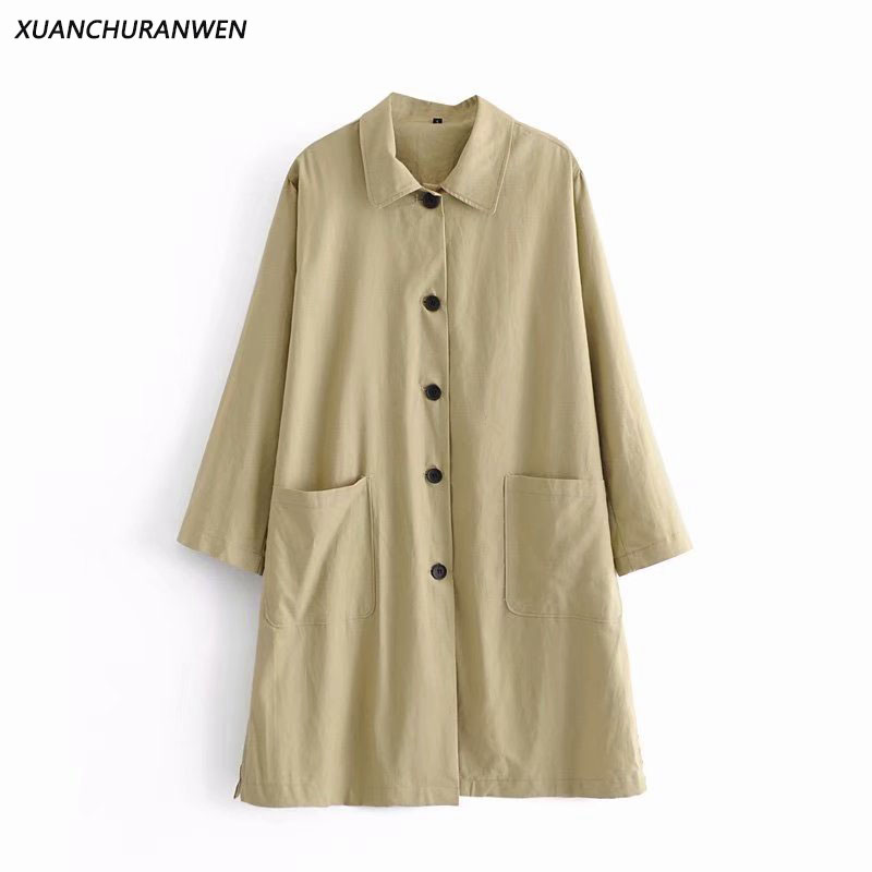 Women Spring Plus Size   Trench   Coat Solid Button Pockets Long Windbreaker Outwear Ladies Loose Casual Coat ZA9209